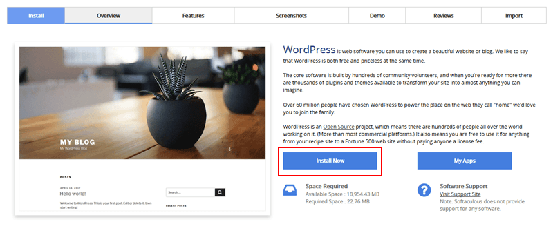 WordPress - Install Now